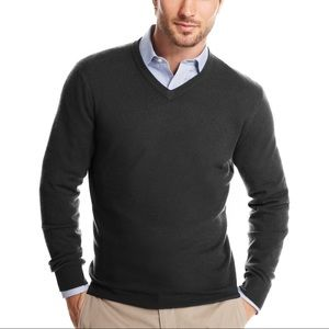 gray cashmere v neck sweater Club Room pullover